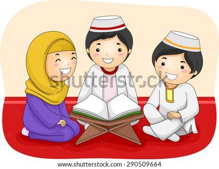 Illustration of Little Muslim Kids Reading the Quran - stock vector