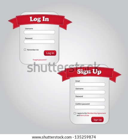 Illustration of Log in and Sign up forms. - stock vector