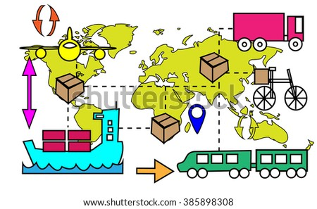 Illustration of logistics transport movements with world map - stock vector