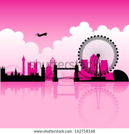 Illustration of London Magenta Skyline and a cloudy background - stock vector