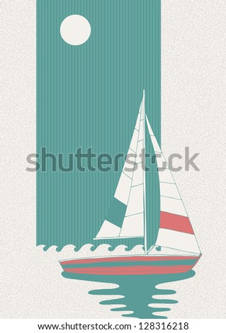 Illustration of lonely boat in the sea