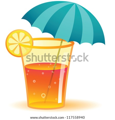 Illustration of Long Drink Glass - stock vector