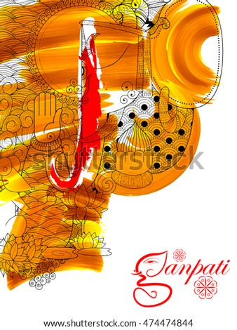 illustration of Lord Ganapati background for Ganesh Chaturthi