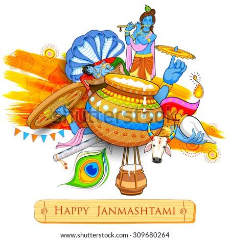 illustration of Lord Krishana in Happy Janmashtami - stock vector