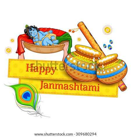 illustration of Lord Krishana in Happy Janmashtami - stock vector