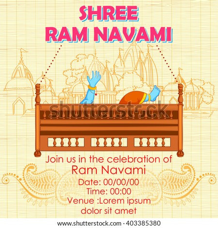 illustration of Lord Rama in Ram Navami background - stock vector