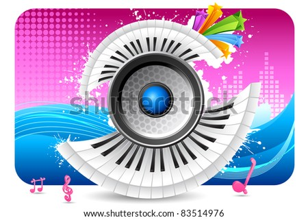 illustration of loudspeaker with piano keypad on abstract musical background - stock vector
