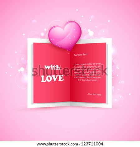 illustration of love card with glossy heart - stock vector