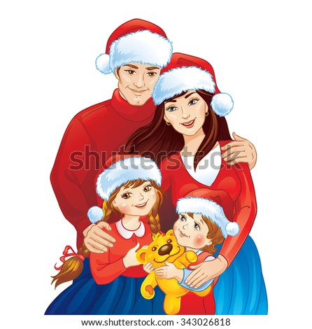 Illustration of lovely Christmas family with Santa Claus hats.