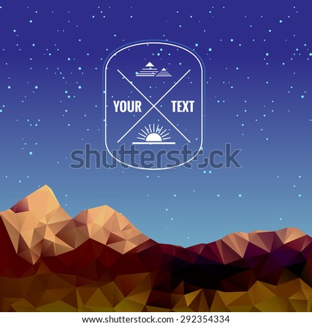 Illustration of low polygonal mountains, vector background - stock vector