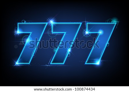 illustration of lucky triple seven jackpot on abstract background - stock vector