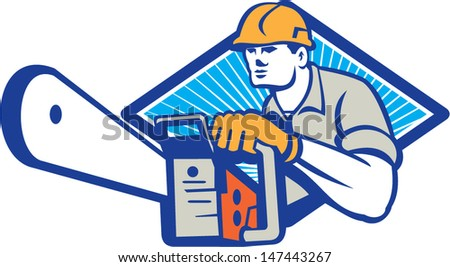 Illustration of lumberjack arborist tree surgeon holding a chainsaw set inside diamond shape on isolated white background.