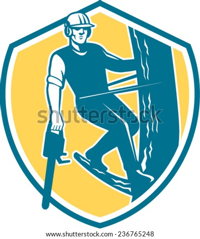 Illustration of lumberjack arborist tree surgeon looking front with harness and chainsaw hanging climbing tree post set inside shield crest on isolated background done in retro style - stock vector