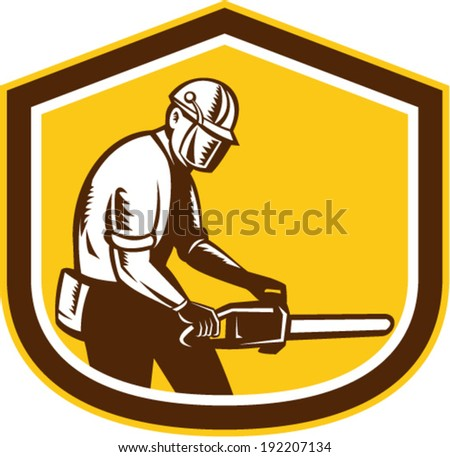 Illustration of lumberjack arborist tree surgeon operating a chainsaw set inside shield crest shape on isolated white background done in retro style. - stock vector