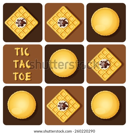 Illustration of macaron and waffle in tic-tac-toe game - stock vector
