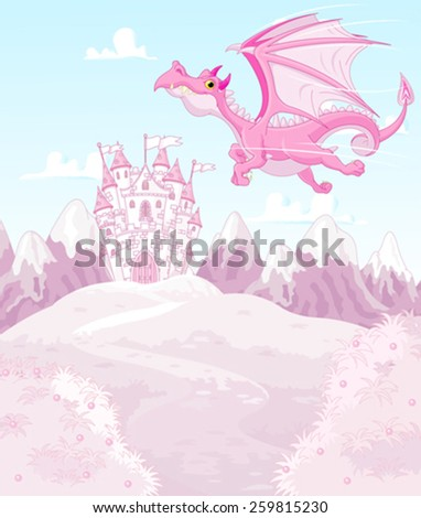 Illustration of magic dragon on princess castle background - stock vector