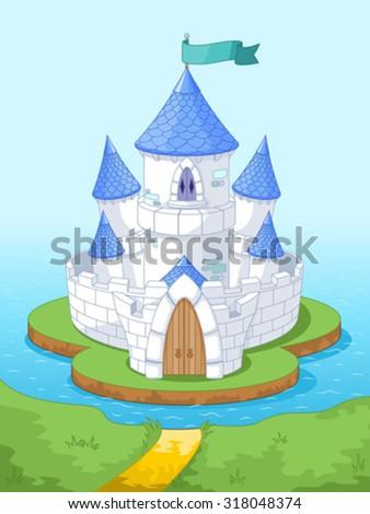 Illustration of magic princess castle on the island - stock vector