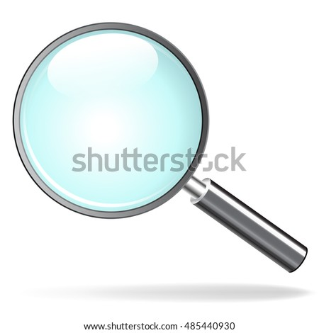 Illustration of magnifying glass on white background