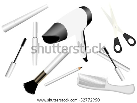 Illustration of make-up accessories isolated on white - stock vector