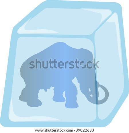 Illustration of Mammoth silhouette enclosed in Ice cube, vector - stock vector