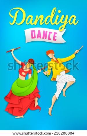 illustration of man and woman playing dandiya dancing Garba - stock vector