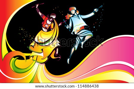 illustration of man and woman playing dandiya with colorful swirl - stock vector