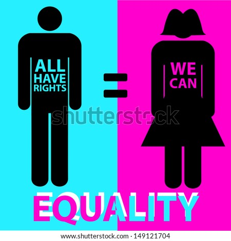 illustration of man and woman representing equality between the sexes. - stock vector