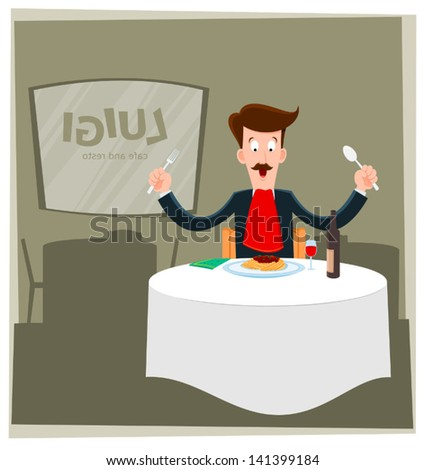 illustration of man eating spaghetti alone in a restaurant - stock vector