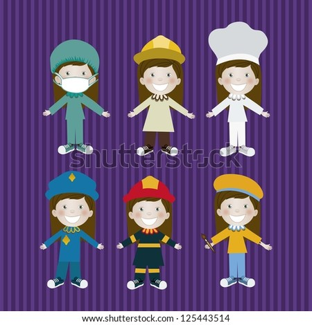 Illustration of man in different professions, in cartoon style and design, vector illustration - stock vector