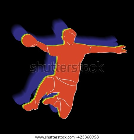 illustration of man playing handball color drawing black background
