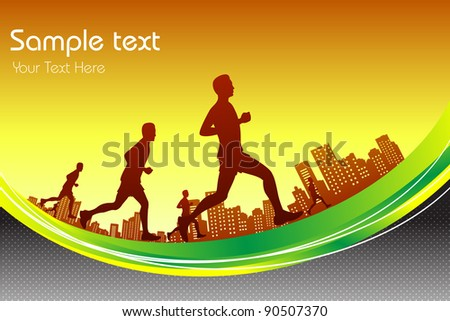 illustration of man running in marathon race in city backdrop - stock vector