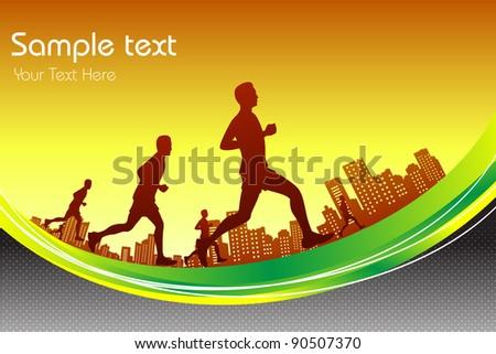 illustration of man running in marathon race in city backdrop - stock vector
