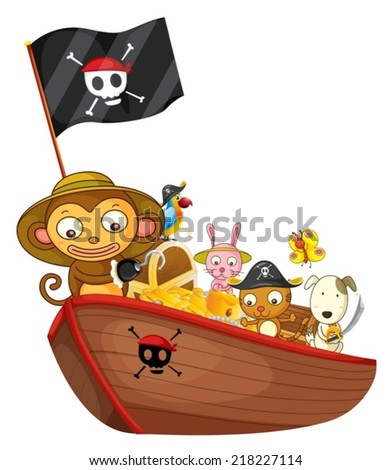 Illustration of many animals on a boat - stock vector