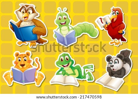 Illustration of many animals reading books - stock vector