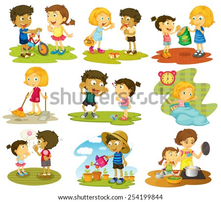 Illustration of many children doing chores and activities - stock vector
