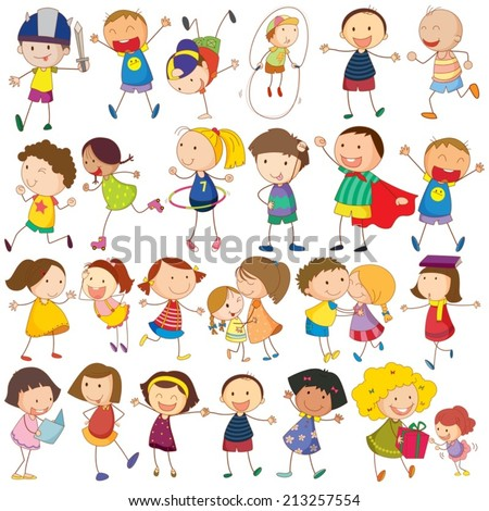 Illustration of many children in actions - stock vector
