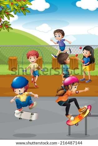 Illustration of many children playing in a playground - stock vector