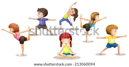 Illustration of many children stretching and meditating - stock vector