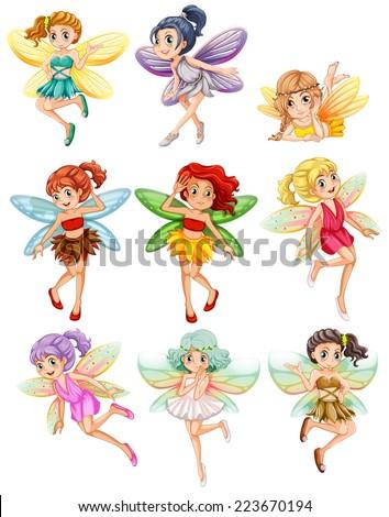 Illustration of many fairies flying - stock vector