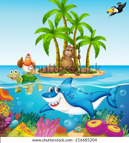 Illustration of many lives in the ocean - stock vector