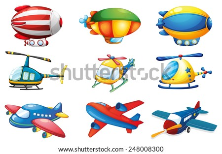 Illustration of many plances and balloons