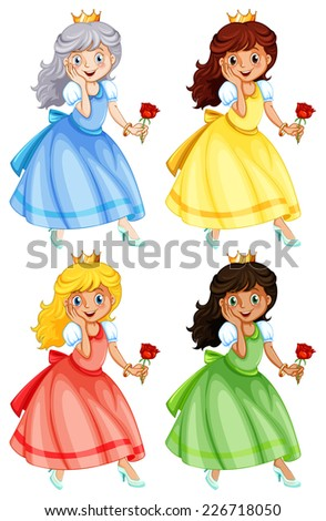 illustration of many princess - stock vector