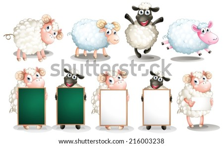 Illustration of many sheeps with different poses - stock vector
