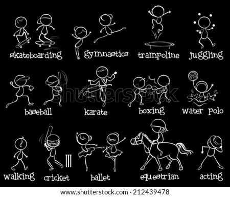 Illustration of many sports on black - stock vector