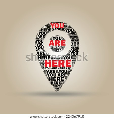 """Illustration of map marker """"You are here"""" - stock vector"""