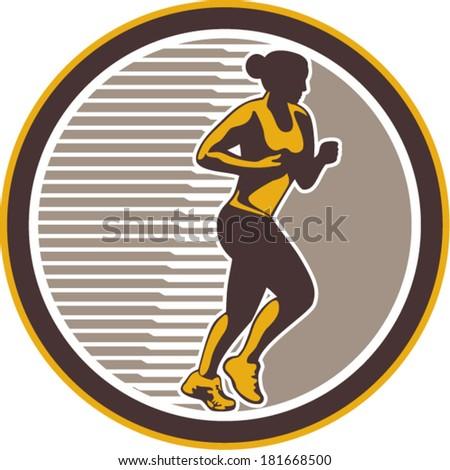 Illustration of marathon triathlete runner running winning finishing race set inside circle on isolated background done in retro style. - stock vector
