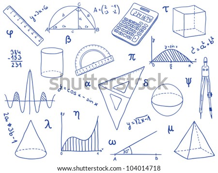 Illustration of mathematics - school supplies, geometric shapes and expressions. math  icon symbols. engineering technology and education doodles. math or physics sketch drawing. - stock vector