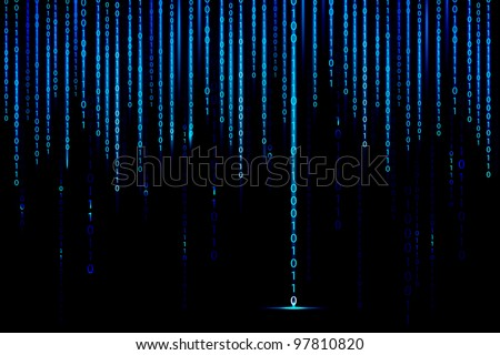 illustration of matrix style binary background with falling number