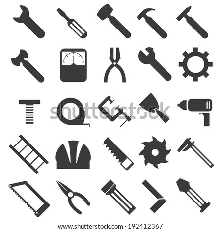 illustration of mechanical equipment icons set