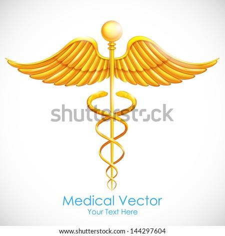 illustration of medical symbol gold caduceus - stock vector